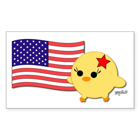 American Flag Soychick Rectangle Sticker 50 pk)