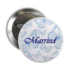 Married Blue Butterflies Button