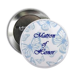 Matron of Honor Blue Butterflies Button