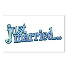 Just Married: Cool Blues Rectangle Decal