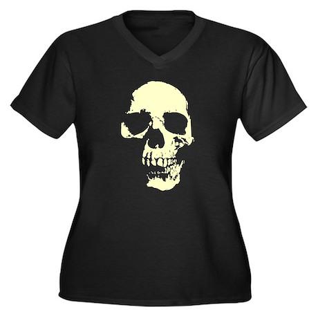 Vintage Skull #1 Women's Plus Size V-Neck Dark T-S