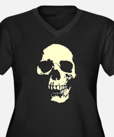 Vintage Skull #1 Women's Plus Size V-Neck Dark T-S