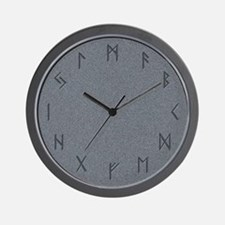 Stone Carved Runes Wall Clock