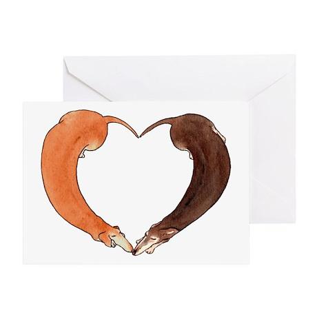 Dachshund Heart Anniversary Greeting Card