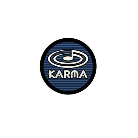 "1"" Button, KARMA logo, blue stripe"