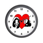 Panda Bear Love Wall Clock