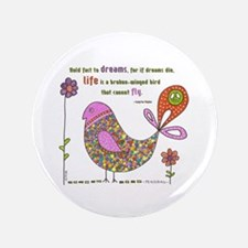 "Langston Hughes Peacebird 3.5"" Button"