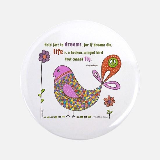 """Langston Hughes Peacebird 3.5"""" Button"""