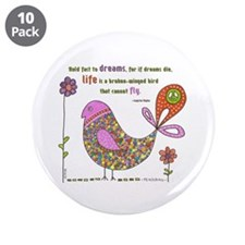 """Langston Hughes Peacebird 3.5"""" Button (10 pack)"""