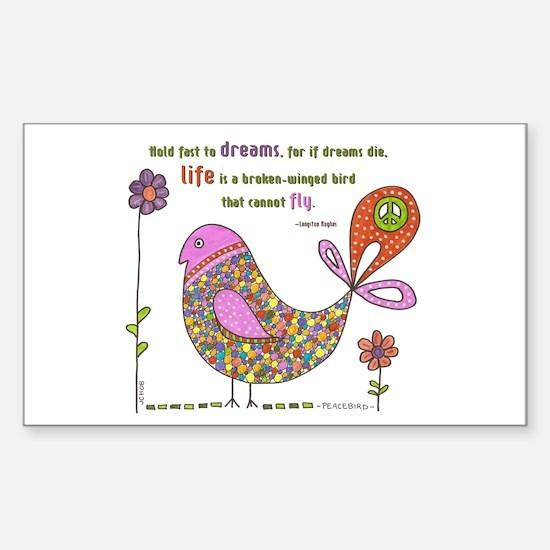 Langston Hughes Peacebird Rectangle Stickers