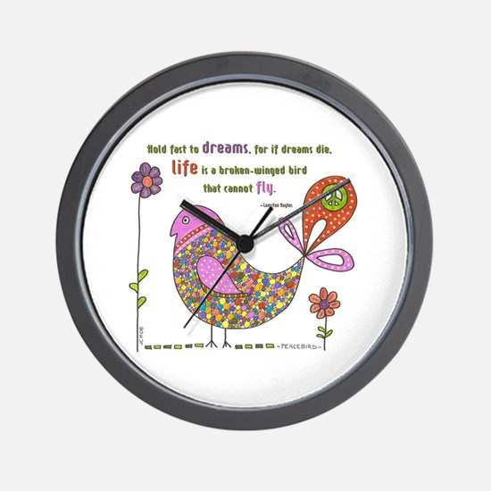 Langston Hughes Peacebird Wall Clock