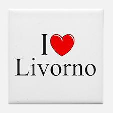 """I Love (Heart) Livorno"" Tile Coaster"