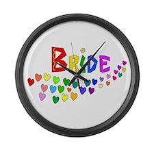 Rainbow Hearts Bride Large Wall Clock