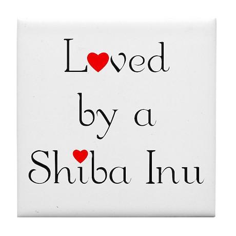 Loved by a Shiba Inu Tile Coaster