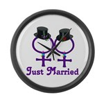 Just Married Formal Lesbian Large Wall Clock