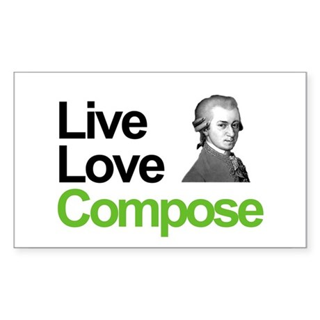 Mozart's Live Love Compose Rectangle Sticker