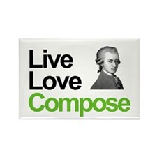 Mozart's Live Love Compose Rectangle Magnet