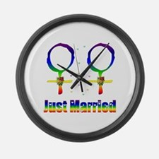 Just Married Lesbians Large Wall Clock