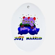 Just Married Bears Oval Ornament