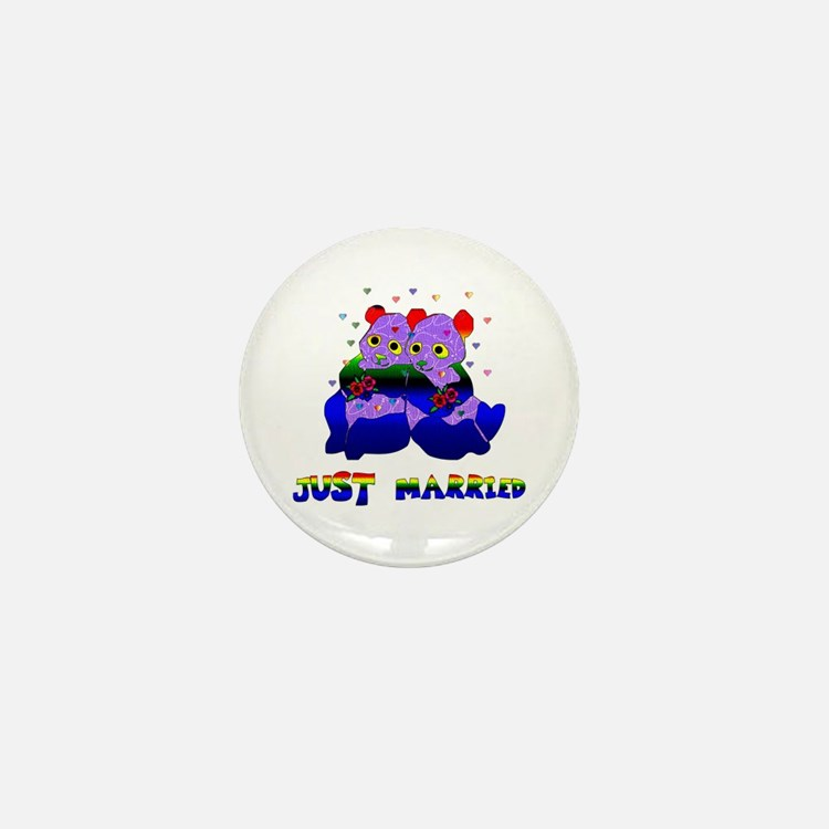 Just Married Bears Mini Button