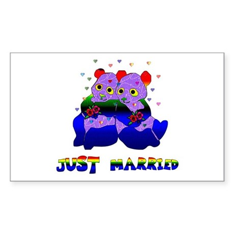 Just Married Bears Rectangle Sticker
