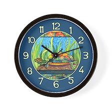 Tie Dye Turtle Watercolor Wall Clock