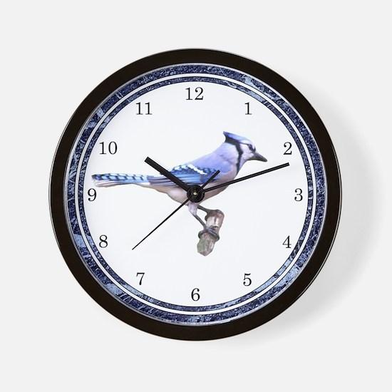 Blue Jay Posed Wall Clock