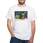 Xmas Magic Golden Retriever (#1) White T-Shirt