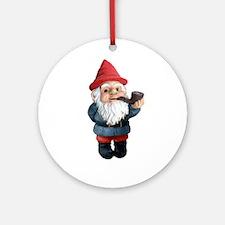 Smoking Pipe Gnome Ornament (Round)
