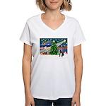 XmasMagic/French BD (BW) Women's V-Neck T-Shirt