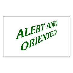Alert And Oriented Rectangle Sticker 50 pk)