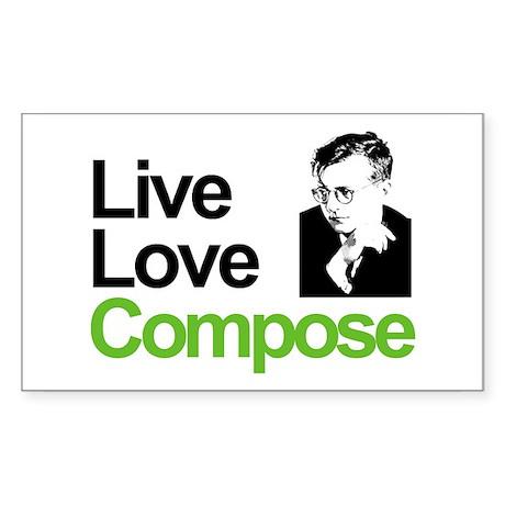 Shosti's Live Love Compose Rectangle Sticker 10 p