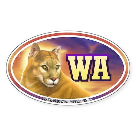 WA Washington State Mountain Lion Oval Sticker