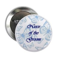 Niece of the Groom Blue Butterflies Button