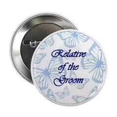 Relative of the Groom Blue Butterflies Button