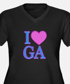 I Love GA Women's Plus Size V-Neck Dark T-Shirt