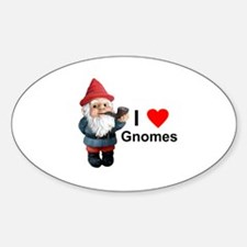 I Love Gnomes Oval Decal