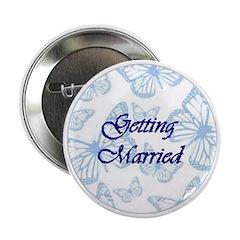 Getting Married Blue Butterflies Button