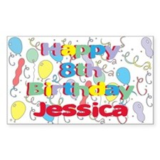 Jessica's 8th Birthday Rectangle Decal