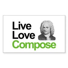 Bach's Live Love Compose Rectangle Decal