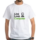 Mozart live love compose Mens White T-shirts