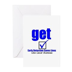 Colon Cancer Get Checked Greeting Cards (Pk of 10)