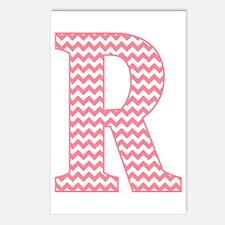 Pink Chevron Letter R Monogram Postcards (Package