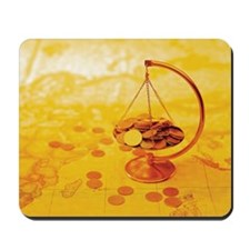 Gold Coins on Scales Mousepad
