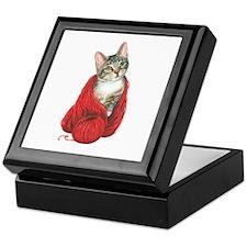 Cat with Red Yarn Keepsake Box