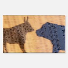 Bull and Bear Shadows Rectangle Decal