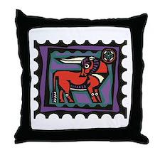 Bull Stamp Throw Pillow