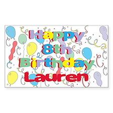 Lauren's 8th Birthday Rectangle Decal
