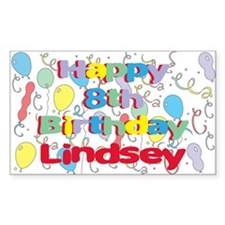 Lindsey's 8th Birthday Rectangle Decal
