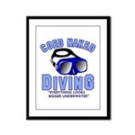 Coed Naked Diving Framed Panel Print